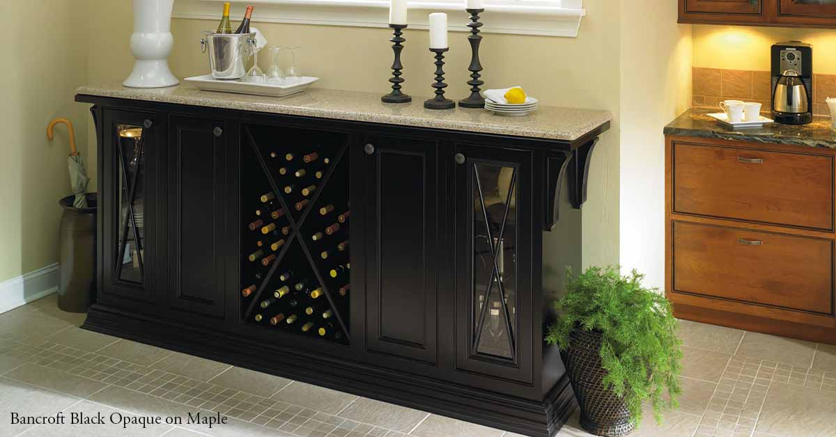 Bancroft Wine Cabinet with Black Opaque on Maple Wood
