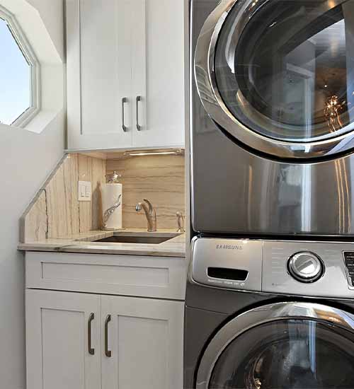 Monterey Laundry Cabinets with Pearl Opaque