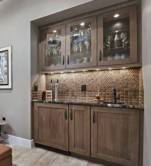 Monterey Wet Bar with Riverbed Stain