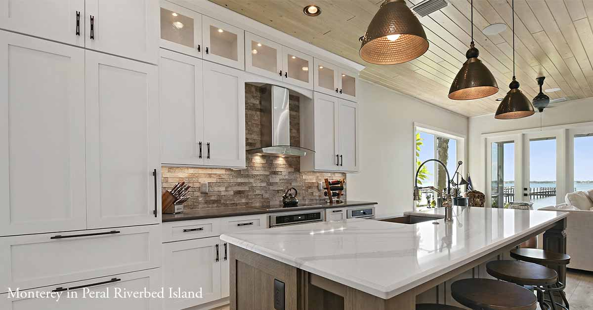 Monterey Kitchen with Peral Opaque and Island Base Cabinets in Riverbed Stain